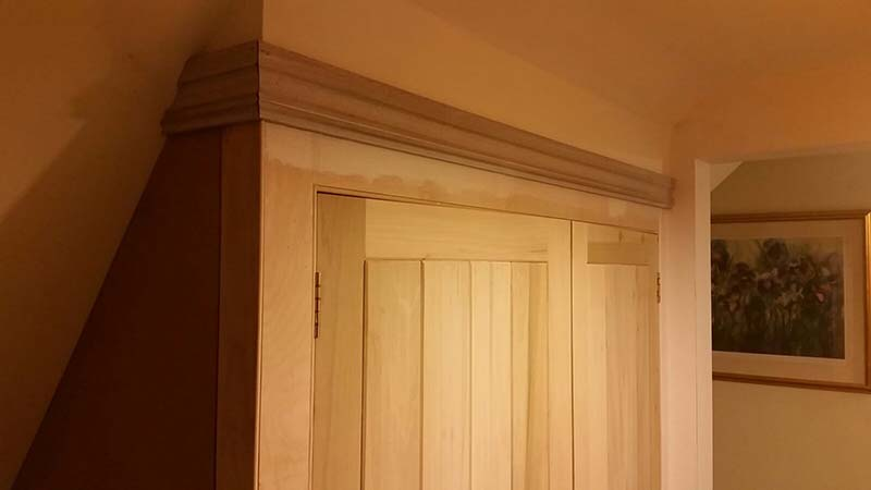 Fitted cupboard at cottage in Manuden, Essex. Doors frame/ledge/braced Tulipwood.